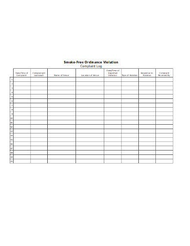 smoke free ordinance complaint log template
