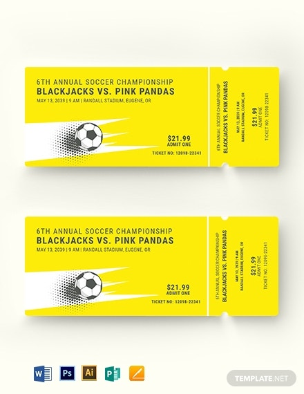 soccer admission ticket template 1