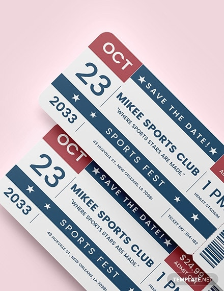 sports ticket save the date template