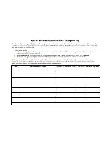 staff development log format