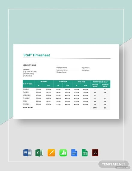 staff timesheet template