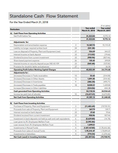 standard cash flow statement
