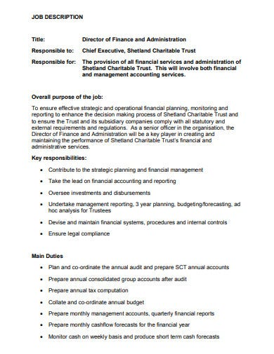 standard charity job description