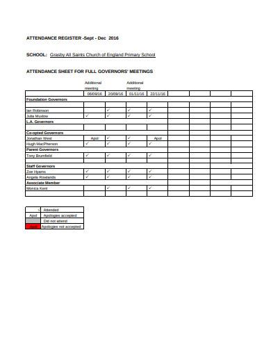 standard church attendance sheet