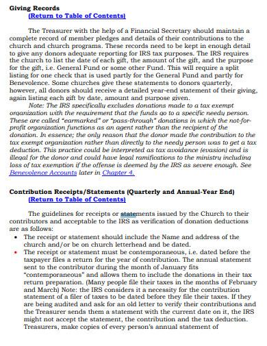 standard church profit and loss statement template