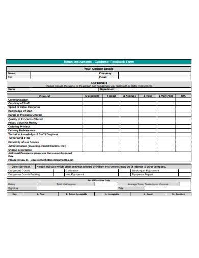 standard customer feedback form1