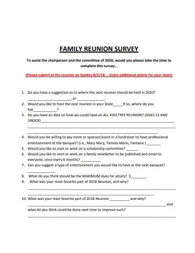 standard family reunion survey template