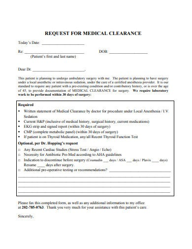 standard-medical-clearance-request-form-template