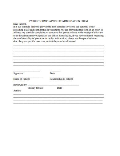 standard patient complaint form example
