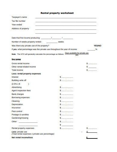 standard rental property worksheet template