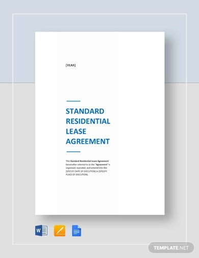 standard residential lease agreement template