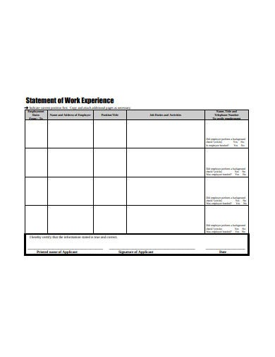 20  statement of experience templates