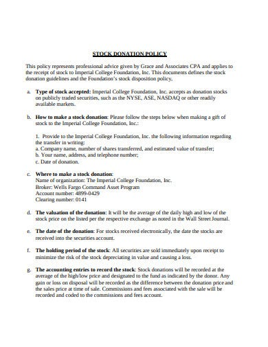 stock donation policy template