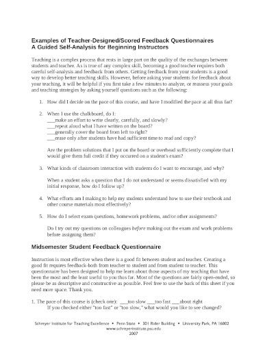 student feedback questionnaire example in pdf