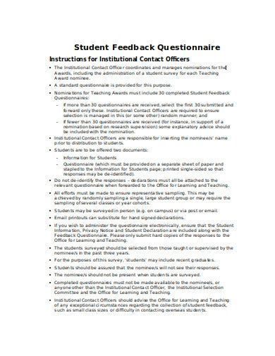 student feedback questionnaire in doc