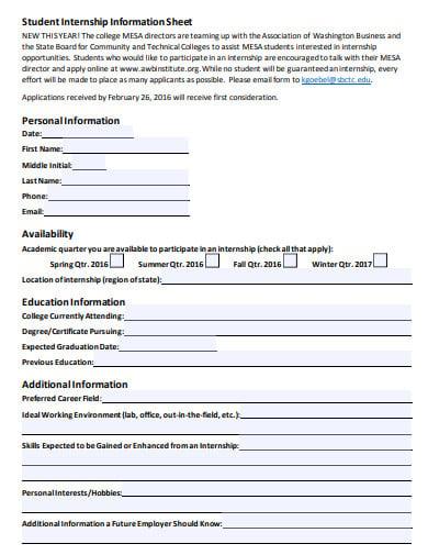 student internship information sheet
