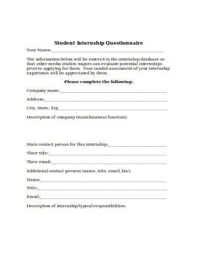 student internship questionnaire template