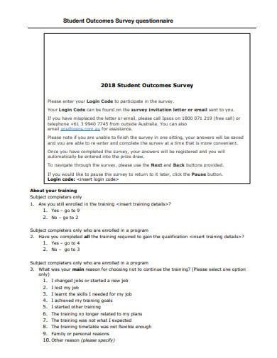 student outcome survey questionnaire template