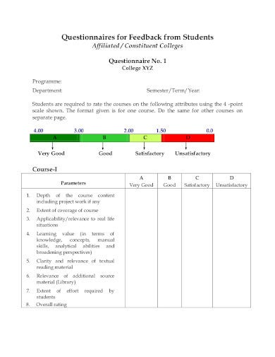 student questionnaires feedback from in pdf