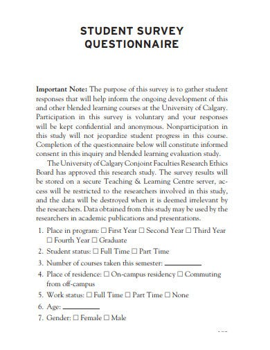 student survey questionnaire example