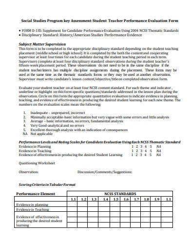 student teacher performance evaluation form