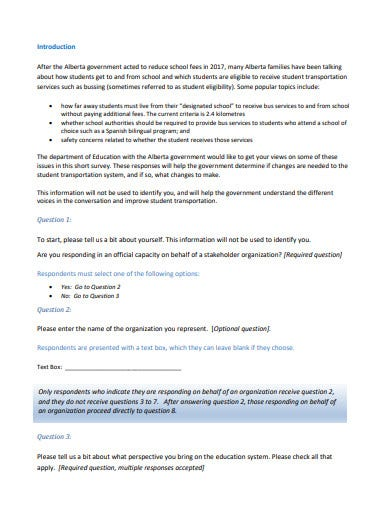 student transportation survey questionnaire template