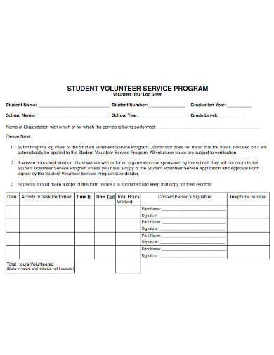 student volunteer log sheet template