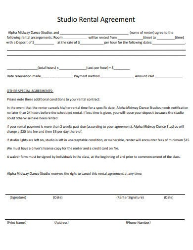 studio rental agreement example