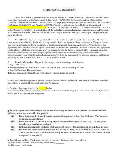 studio rental agreement format template