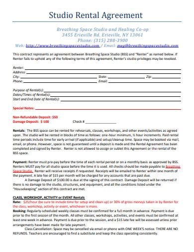 studio rental agreement format