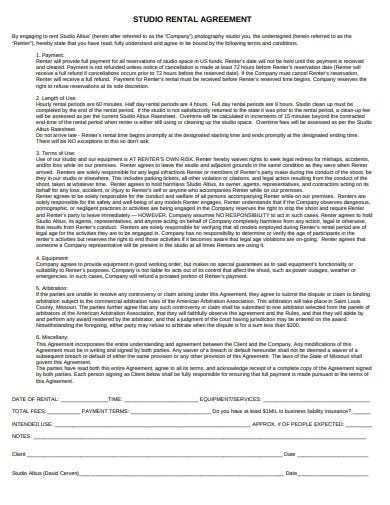 studio rental agreement template