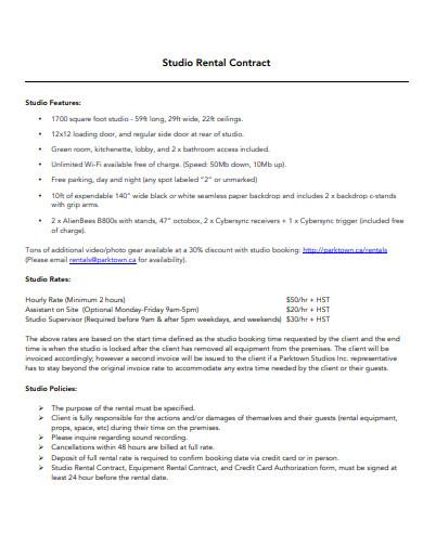 studio rental contract template