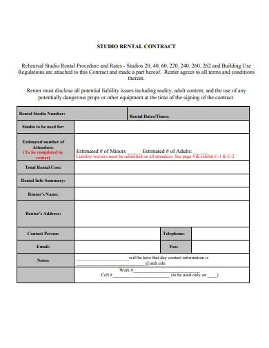 studio rental contract in pdf