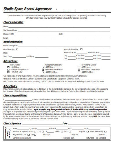 studio space rental agreement template