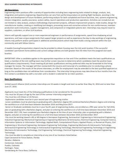 summer engineering internship job description