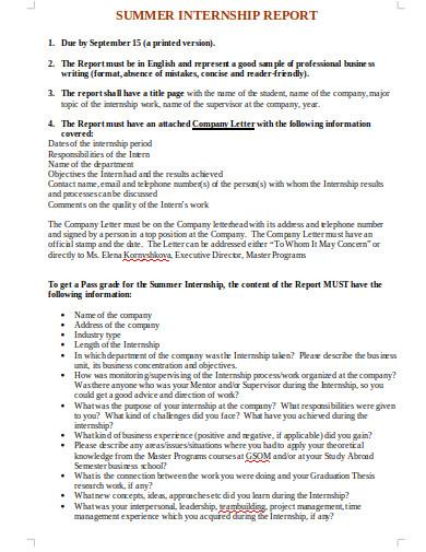 summer internship report in doc