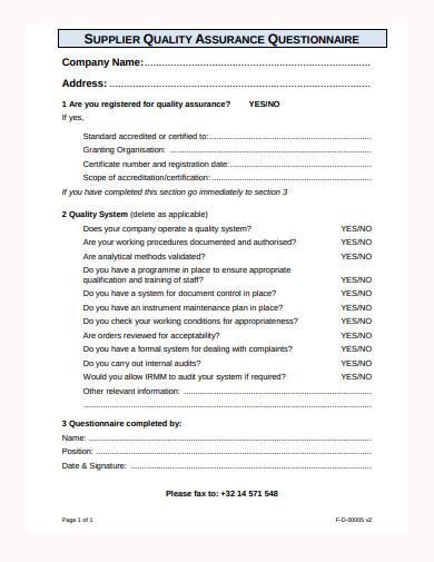 supplier quality assurance questionnaire template