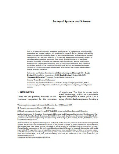 survey of system software computing