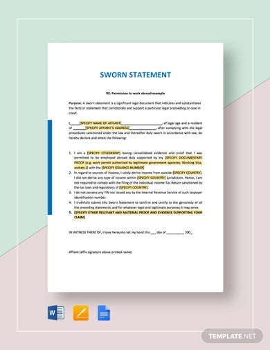 Sworn Statement Template from images.template.net