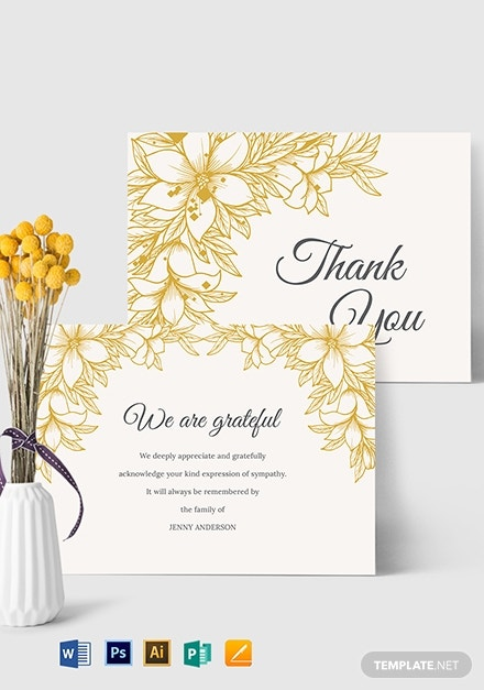 sympathy thank you card template 1