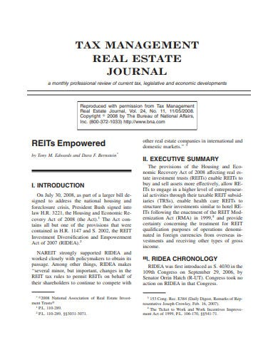 tax management real estate journal template
