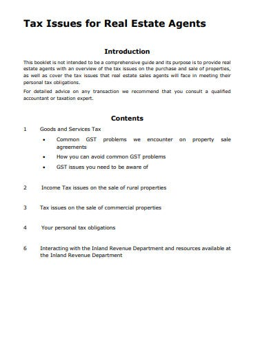 tax real estate agent invoice template
