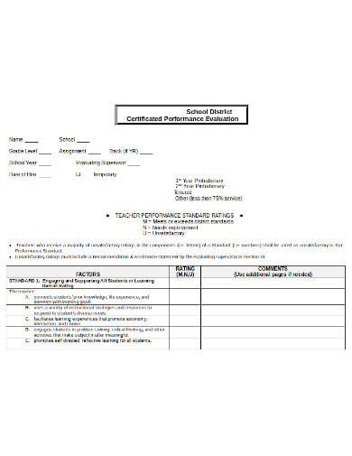 teacher-certified-performance-evaluation-template