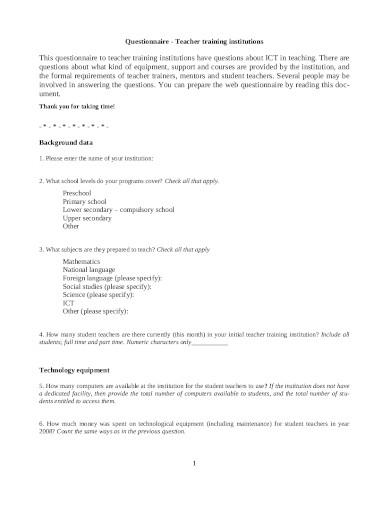 teacher training questionnaire in pdf