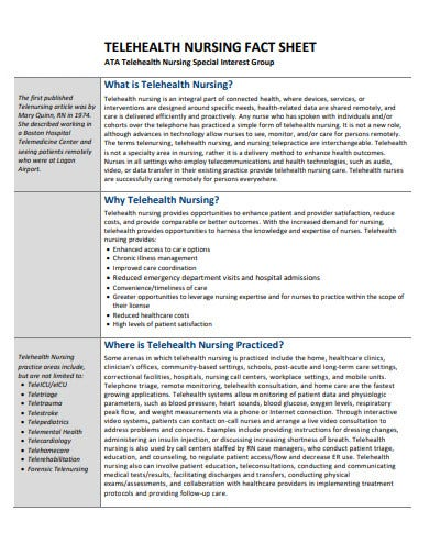 telehealth nursing fact sheet template