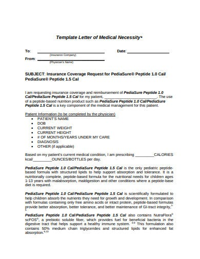template letter of medical necessity