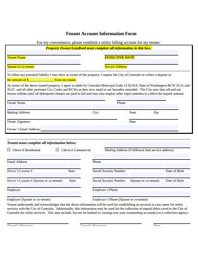 tenant account information form