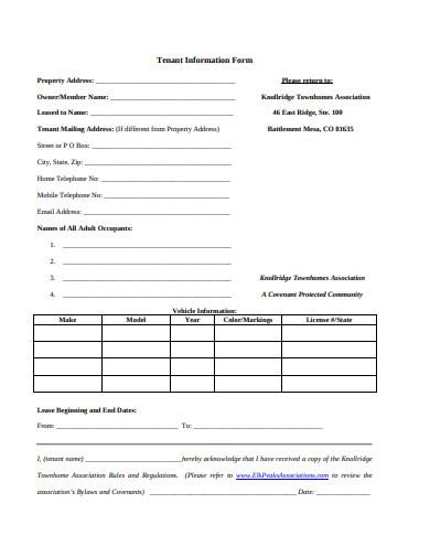 tenant information form format