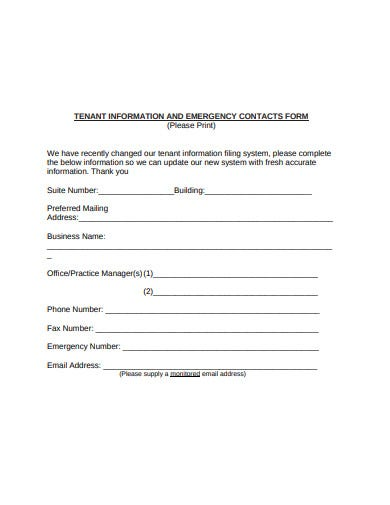 tenant information and emergency contact form
