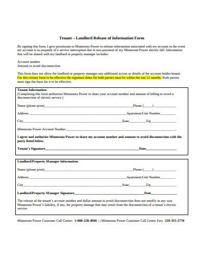 18 Tenant Information Form Templates In Pdf Doc Free